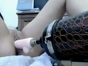 Restricted pussy fucked with a fucking machine