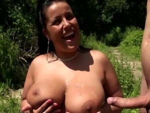 Double Cumshot on Big Boobs