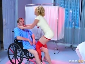 Naughty Kagney mesmerizes the patient, Danny, with her provocative attitude...