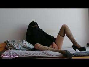 Arab Egypt Wife In High Heels And Burqa Hijab Anal Masturbates On Webcam