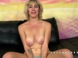 Sasha Sweet petite blonde gags on dicks