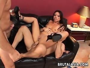 Brunette bitch in a double penetration video