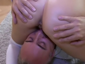 A old man fucks a busty blonde chick