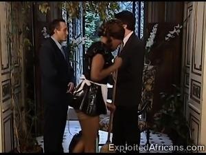 Gorgeous Ebony Maid Sucks Big Dick