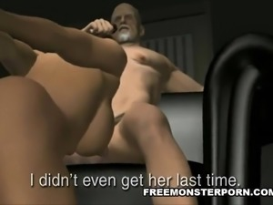 Busty 3D Babe Sucks and Old Man's Cock