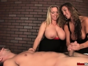 Blonde and brunette sluts with huge tits pump and whip a thick cock