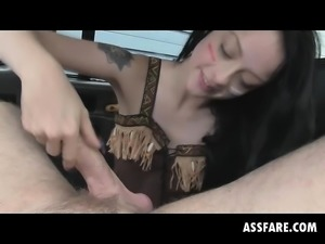Brunette Alessa Giving Savage Blowjob In Fake Taxi