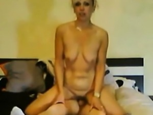 Blonde wife with saggy tits blows him and gets drilled from