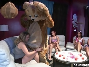 At a wild party these amateur women blow the male strippers