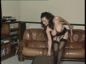 Big tit mom strips and rides a dildo