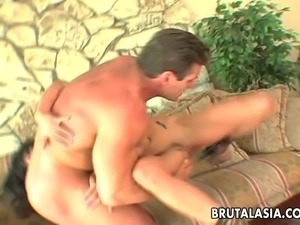 Stuffing her ass deep and hard with a huge phallus