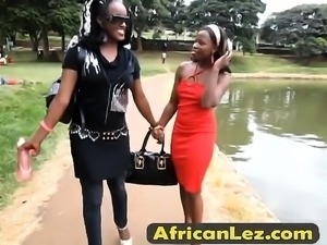 Sexy bathroom fun for these two hot african babes!