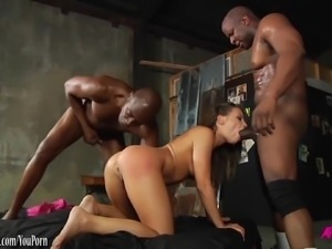 Adriana Chechik interracial DP by 3 black guys