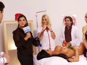 Nurses are naughty in a hospital orgy where they get laid
