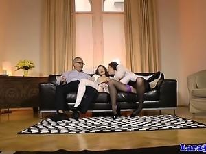 Stockinged mature cumswaps in threesome