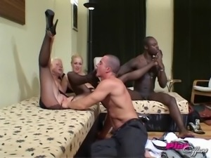 Two hung guys are here to give Petra and Kristy a balls-deep treatment