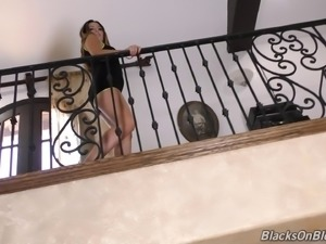 Guy with a giant black cock provides two brunettes with hard shagging