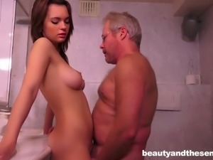 Brunette sweetie Emily Thorne fucks incredibly horny old fart