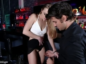 Slut in a miniskirt has sex with a bartender after closing