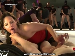 Horny nurse sucks more than ten dicks at the same time