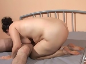 Busty chubby housewife gets banged in mish and sideways poses