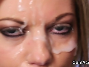 Frisky peach gets cumshot on her face swallowing all the jiz