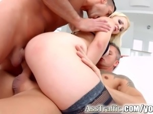 First time double penetration Nina Trevino hardcore on Ass Traffic
