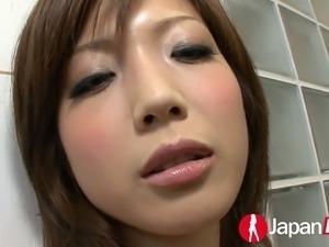 Dudes enjoy playing with foamy body of slim Japanese gal Mari Sasak