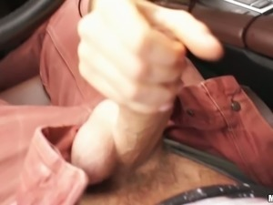 Buxom black haired sweetie pleases hungry guy with steamy fellatio on the...