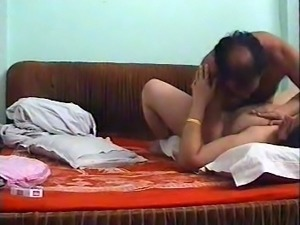 Happy mature Indian husband fucking his appetizing milf busty wife