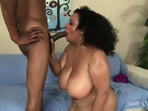 Big Latina with huge knockers titty fucks and rides his prick before sucking...