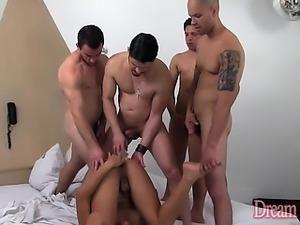 Horny tgirl Beatriz Velmont gets gangbanged