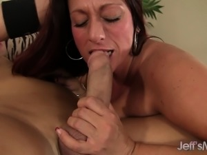Chunky brunette mom with huge tits has a fiery cunt longing for action
