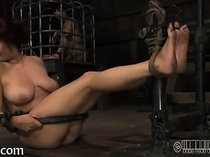 Adorable slaves are made to undress inside a small cage