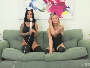 Two lesbian babes with cat ears are here for some pussy licking