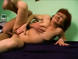 Wild mature redhead gets a mouthful of this vigorous jackhammer