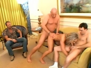 Amazing blonde chick rides two big cocks in front of her husband