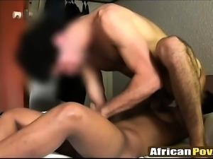 Ebony babe gives rimjob and a blowjob