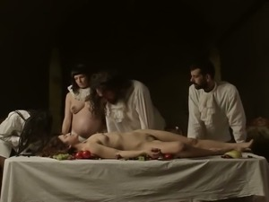 Fruits are served on a naked woman's body in this hot video