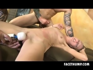 Dirt Bag Blonde Skye Avery Double Fucked On Da Couch