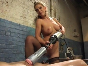 Cherie has no trouble with her bad slave. She punishes him, even shocking him...