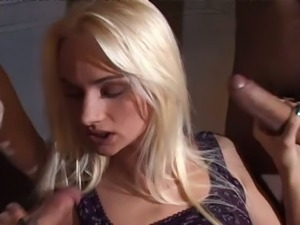 Well shaped blond bitch Sophie Roche pleasures there kinky dudes in bed