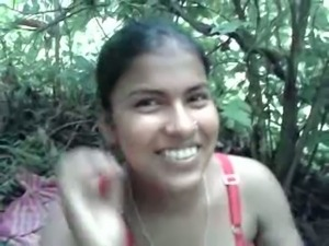 Hot and playful Indian amateur girl in the woods with her partner