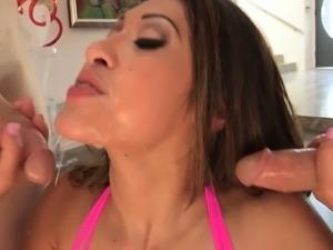 Blowjob queen Jayden Lee does her magic deep throat on three rods