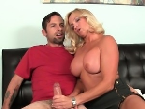 Cougar momma jerking off boyfriends cock