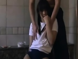 Pigtailed Japanese cutie has a horny guy caressing her fabu