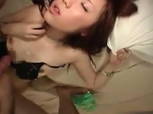 Insatiable Asian girl stuffs a hard pole deep inside her ac