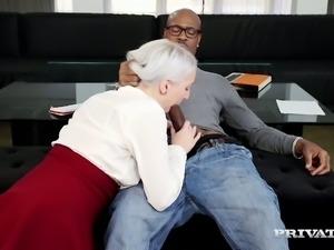 Horny blond GF Liz Rainbow sucks meaty cock of her black 4 eyed man ardently