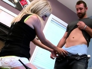 Horny blonde goes down on his wanker before he jams up her cunt