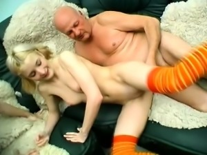 Horny old man has two enchanting young girls sharing his hard stick
